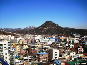 Seochon with Mt. Bugaksan and the Blue House in the background-Robert J. Fouser